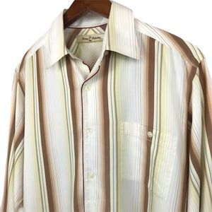 Tommy Bahama Striped Button Up Shirt Size Small